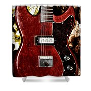 The Red Guitar Blues Shower Curtain by Bill Cannon