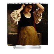 The Red Ribbon Shower Curtain by William Adolphe Bouguereau