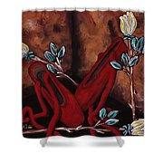 The Red Shoes Shower Curtain by Barbara St Jean