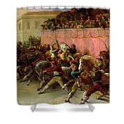 The Riderless Racers At Rome Shower Curtain by Theodore Gericault