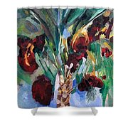The Righteous Will Flourish Like The Date Palm Tree Shower Curtain by David Baruch Wolk