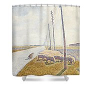 The Road To Nieuport Shower Curtain by Willy Finch