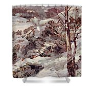 The Russians Fighting Their Way Over The Carpathians Shower Curtain by Cyrus Cuneo