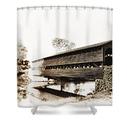 The Sachs Covered Bridge Near Gettysburg In Sepia Shower Curtain by Bill Cannon