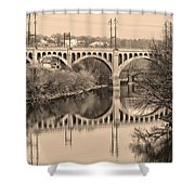 The Schuylkill River And Manayunk Bridge In Sepia Shower Curtain by Bill Cannon