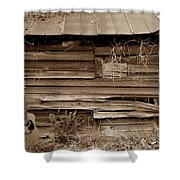 The Sepia Guitar Shower Curtain by Skip Willits