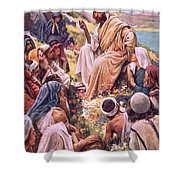 The Sermon On The Mount Shower Curtain by Harold Copping