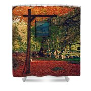 The Sign Of Fall Colors Shower Curtain by Jeff Folger