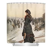 The Skater Shower Curtain by Edward John Gregory