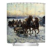 The Sleigh Ride Shower Curtain by Alfred von Wierusz Kowalski
