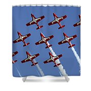 The Snowbirds Keeping It Tight Shower Curtain by Bob Christopher