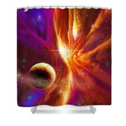 The Spirit Realm Of The Saphire Nebula Shower Curtain by James Christopher Hill