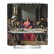 The Supper At Emmaus Shower Curtain by Vittore Carpaccio