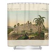The temple of Buddha of Borobudur in Java Shower Curtain by Splendid Art Prints