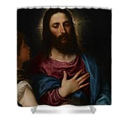 The Temptation Of Christ Shower Curtain by Titian