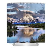 The Tetons From Oxbow Bend Shower Curtain by Dan Sproul