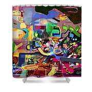 the Torah is aquired with awe 5 Shower Curtain by David Baruch Wolk