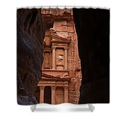 The Treasury Seen From The Siq Petra Jordan Shower Curtain by Robert Preston