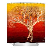 The Tree In Fall At Sunset - Painterly - Abstract - Fractal Art Shower Curtain by Andee Design