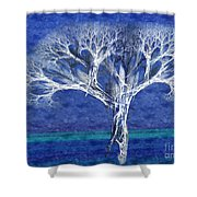The Tree In Winter At Dusk - Painterly - Abstract - Fractal Art Shower Curtain by Andee Design