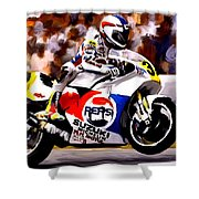 The Unleashing   Kevin Schwantz Shower Curtain by Iconic Images Art Gallery David Pucciarelli