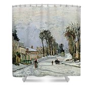 The Versailles Road at Louveciennes Shower Curtain by Camille Pissarro