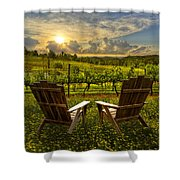 The Vineyard   Shower Curtain by Debra and Dave Vanderlaan