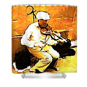 The Violenist Shower Curtain by John Malone