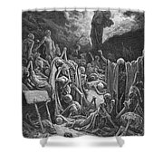 The Vision of the Valley of Dry Bones Shower Curtain by Gustave Dore