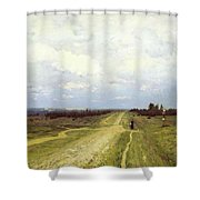 The Vladimirka Road Shower Curtain by Isaak Ilyich Levitan