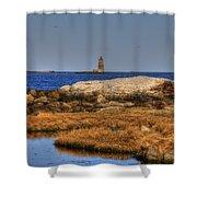 The Whaleback Lighthouse Shower Curtain by Joann Vitali