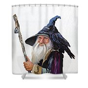 The Wizard And The Raven Shower Curtain by J W Baker