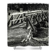 The Wooden Bridge Shower Curtain by Hannes Cmarits