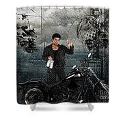 Three For The Road Shower Curtain by Bedros Awak