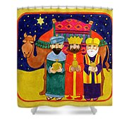 Three Kings And Camel Shower Curtain by Linda Benton
