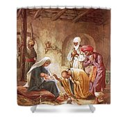 Three Kings Worship Christ Shower Curtain by William Brassey Hole