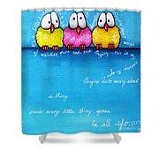 Three Little Birds Shower Curtain by Lucia Stewart