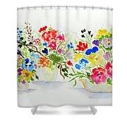 Three Pots Shower Curtain by Jamie Frier