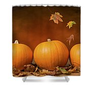 Three Pumpkins Shower Curtain by Amanda And Christopher Elwell