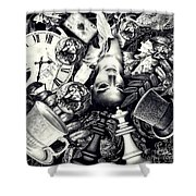 Through The Looking-glass Shower Curtain by Mo T