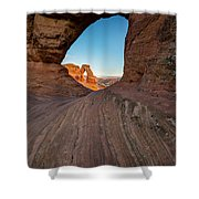 Through The Needle Shower Curtain by Dustin  LeFevre