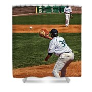 Throw To First Shower Curtain by Karol  Livote