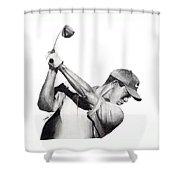 Tiger Backswing Shower Curtain by Devin Millington