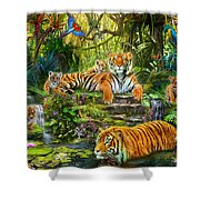 Tiger Family At The Pool Shower Curtain by Jan Patrik Krasny