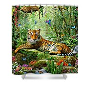 Tiger In The Jungle Shower Curtain by Adrian Chesterman