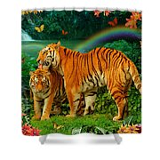 Tiger Love Tropical Shower Curtain by Alixandra Mullins
