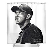 Tiger Woods Driven Shower Curtain by Devin Millington