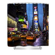 Times Square In The Rain Shower Curtain by Garry Gay