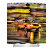 Times Square Taxi I Shower Curtain by Clarence Holmes