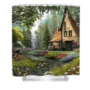 Toadstool Cottage Shower Curtain by Dominic Davison